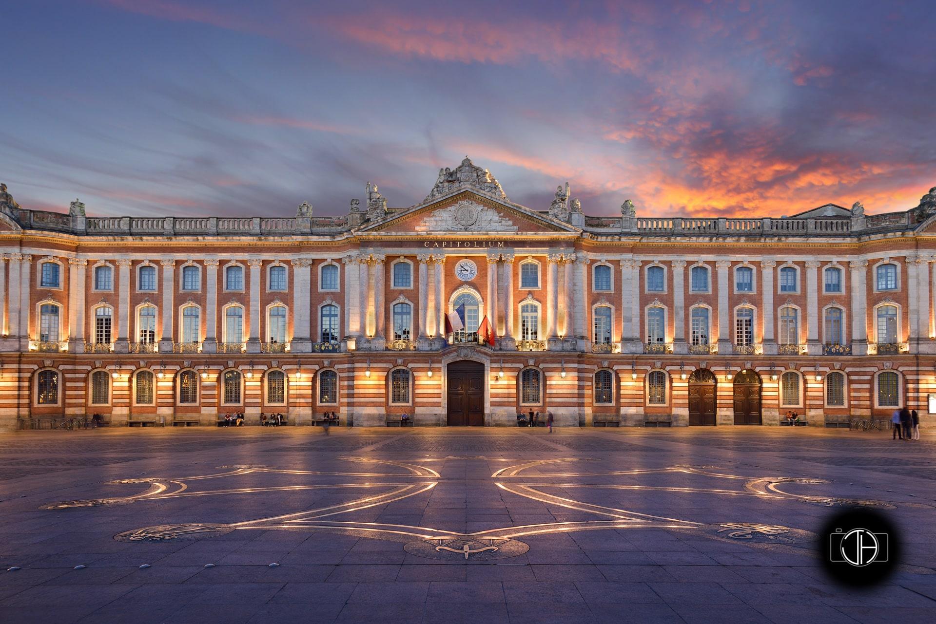 Coucher de soleil, place du Capitole, Toulouse