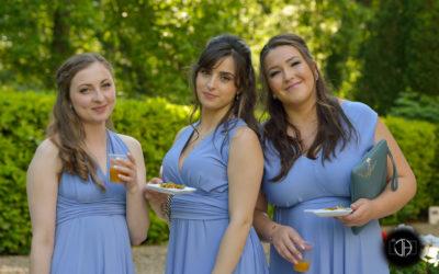 Photographe mariage Toulouse, Demoiselles d'honneur assorties, robes bleues
