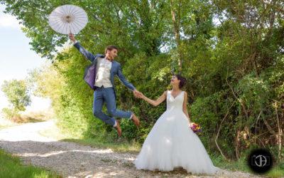 Toulouse, Photo de mariage originale, marié qui s'envole