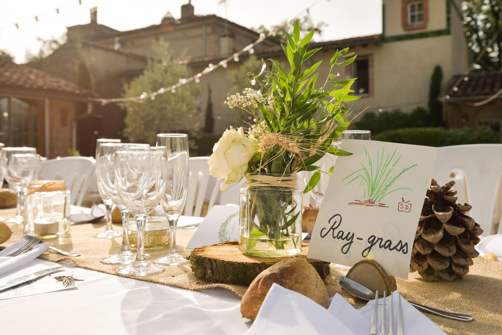 Décoration table mariage, Domaine du T, Balma