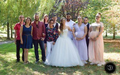 Photo groupe mariage parc Odyssud Blagnac