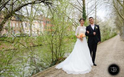 Photo de mariage le long du canal du midi à Toulouse